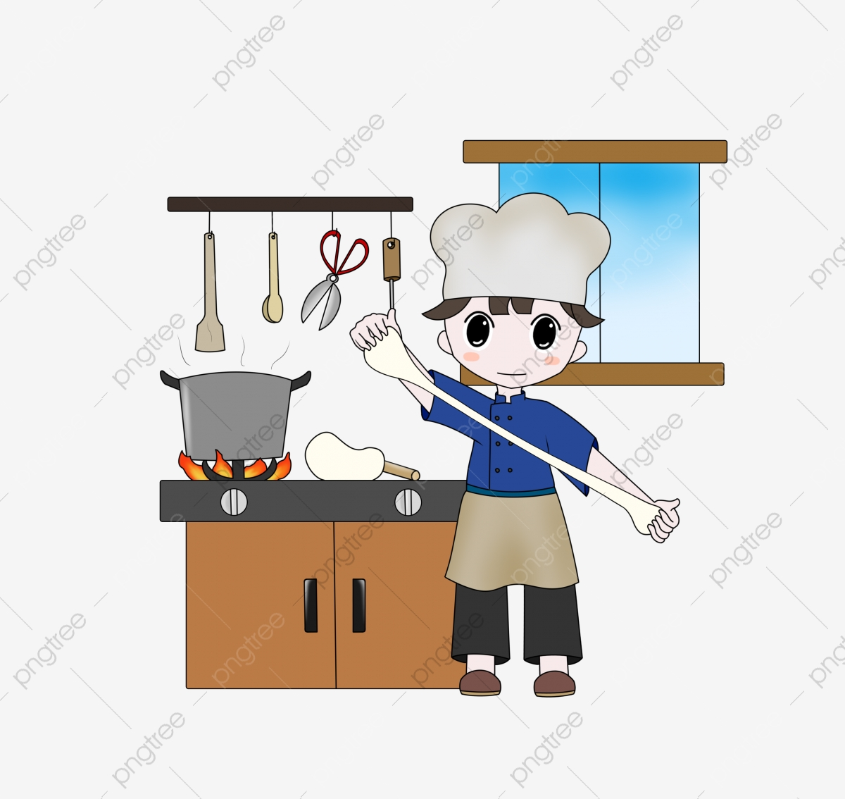 Chinese small head little. Cooking clipart kitchen staff