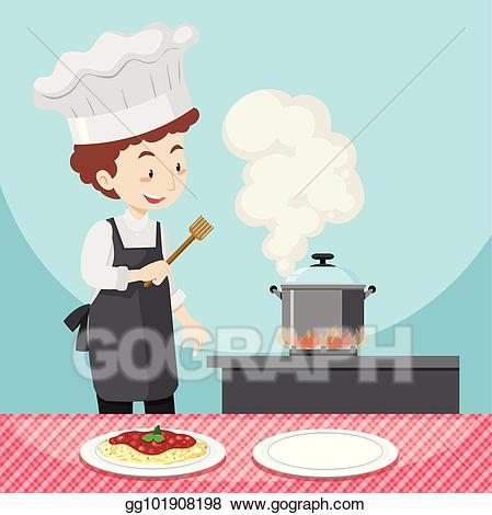 Cooking clipart male cook. Clip art vector chef