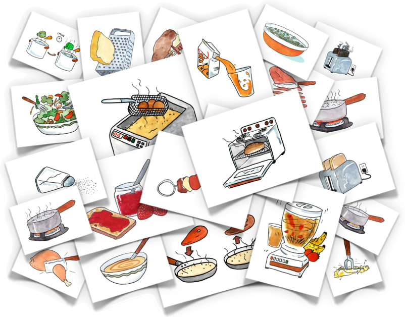 Verbs comes with all. Cooking clipart mix food