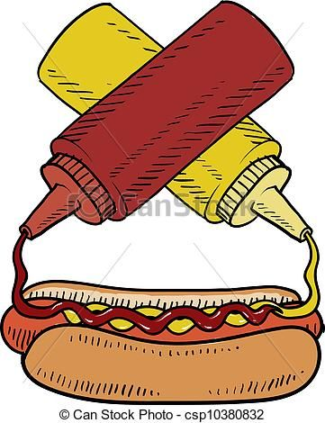 Vector hot dog with. Hotdog clipart food cookout