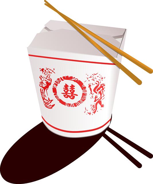 Food box with chopsticks. Hut clipart chinese hut