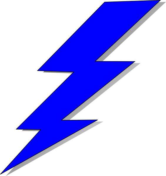 Lightening bolt clip art. Lightning clipart blue