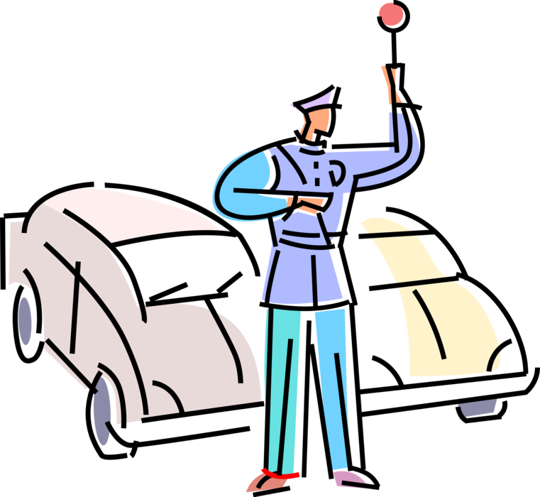 Traffic cop policeman with. Transportation clipart roadways