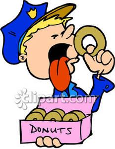 Doughnut clipart eating. A cartoon cop donut