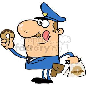Happy police officer donut. Doughnut clipart eating