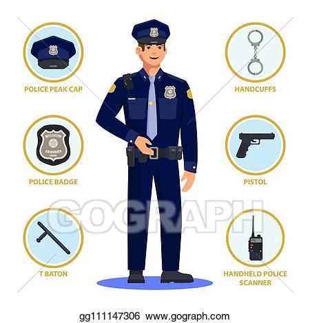 Policeman clipart police baton. Vector or officer cop