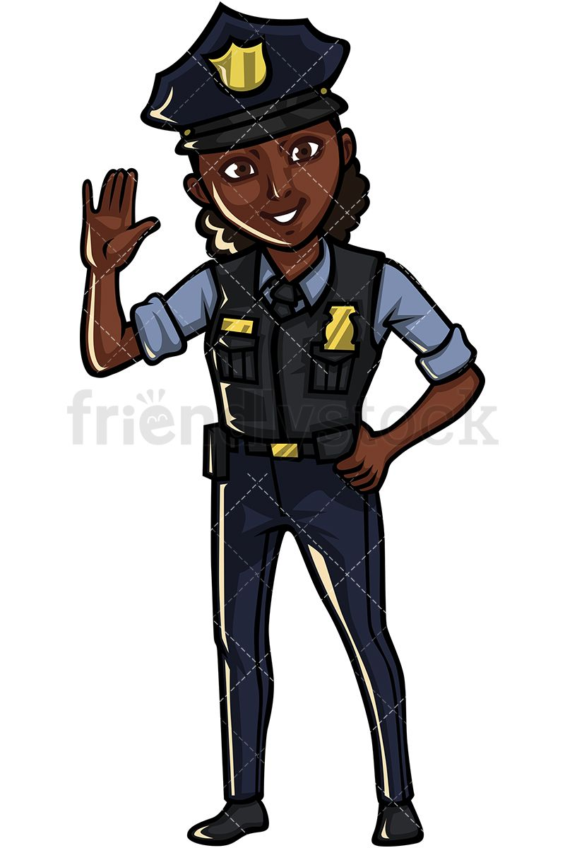 Cop clipart peace officer. Black policewoman art in