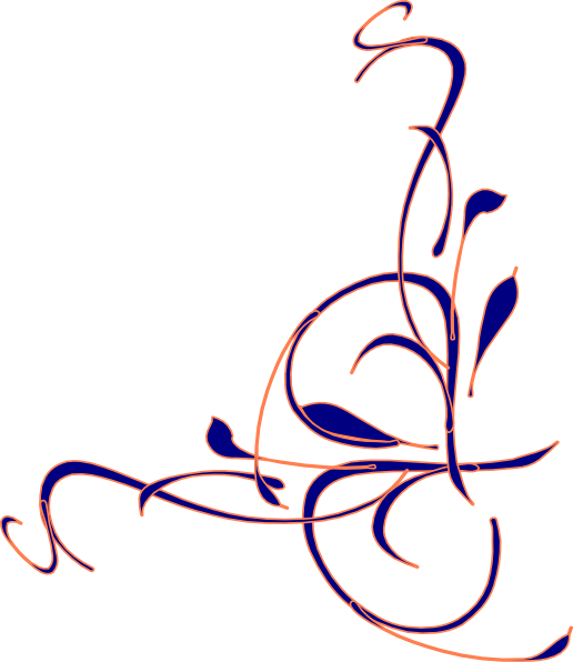 Floral swirl navy at. Coral clipart clip art