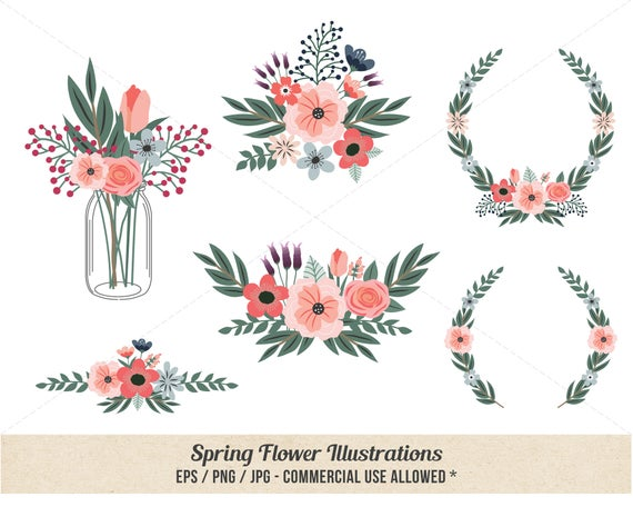 Flower hand drawn commercial. Floral clipart spring