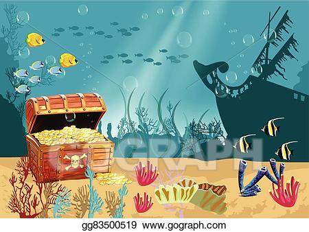 Vector art underwater scenery. Coral clipart underwate treasure