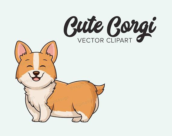 Cute vector clip art. Corgi clipart