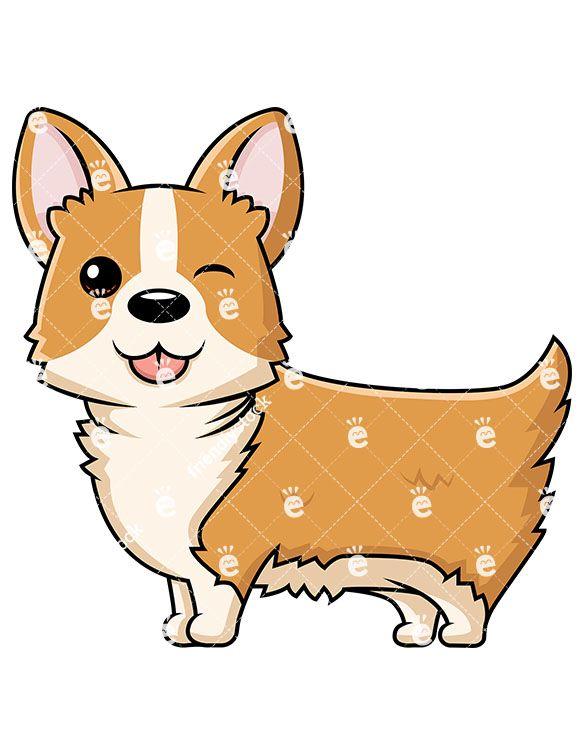 Cute dog winking cartoon. Corgi clipart