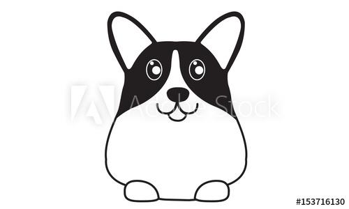 Dog logo buy this. Corgi clipart black and white
