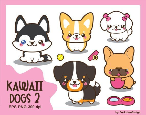 Kawaii dog breeds . Husky clipart cute drawing