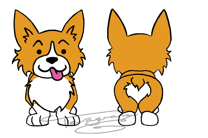 Corgi clipart sad. Front and back by