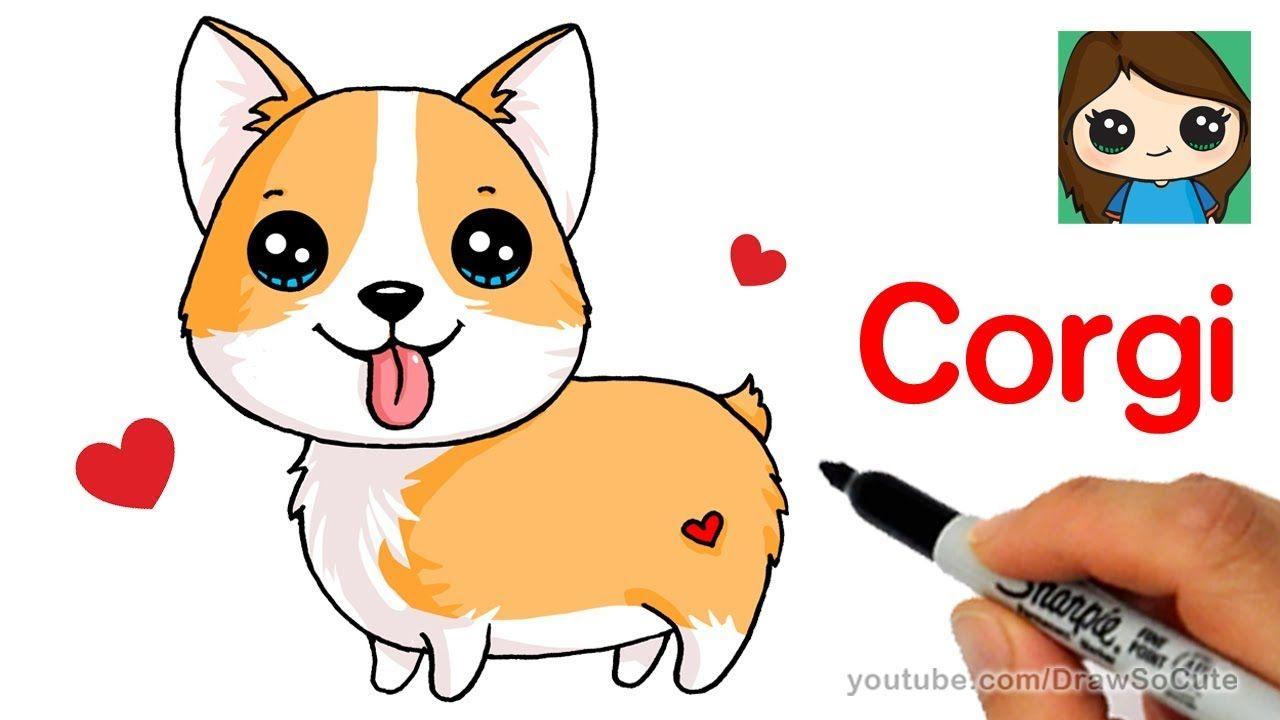 How to draw a. Corgi clipart simple