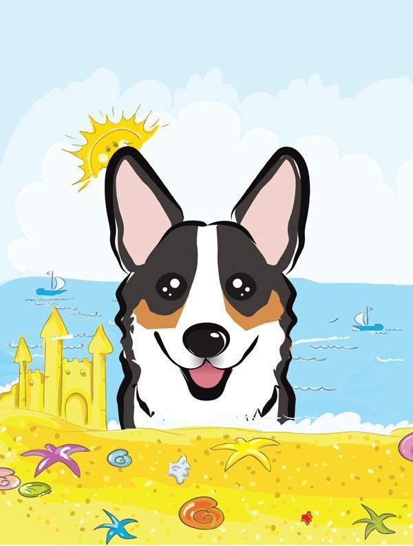 Summer beach flag canvas. Corgi clipart tricolor