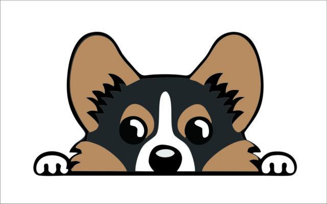 Pembroke welsh sticker decal. Corgi clipart tricolor