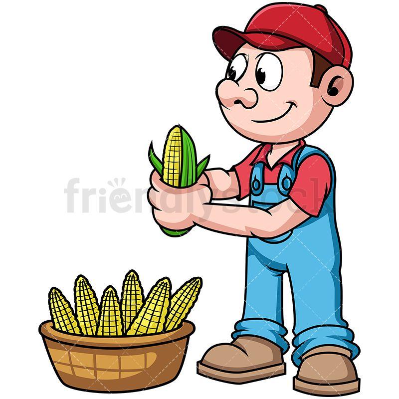 Farmer harvesting corn all. Farmers clipart basket