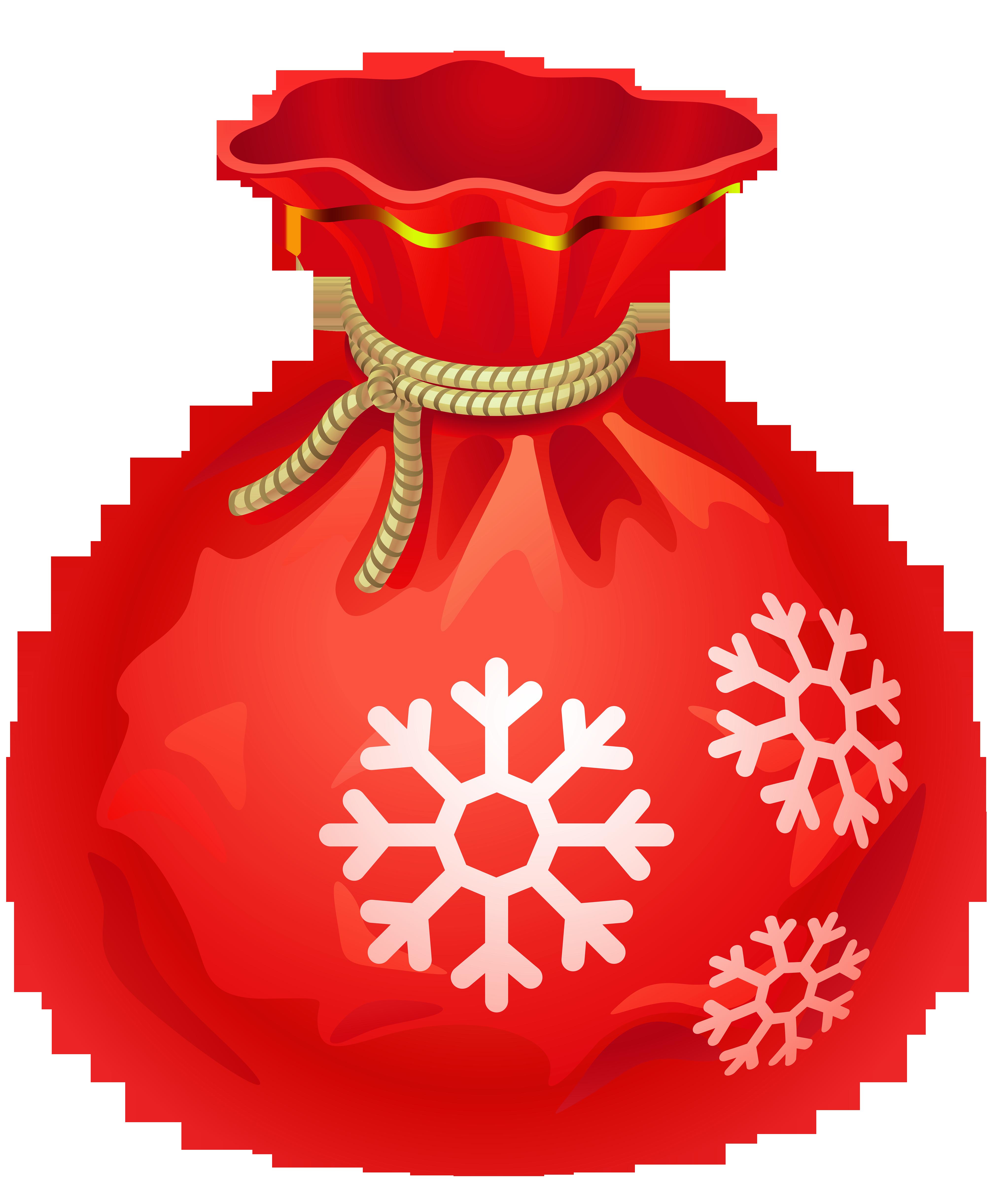Transparent christmas red santa. Gift clipart sack