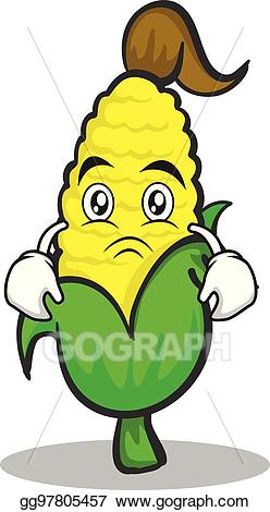Vector illustration face sweet. Sad clipart corn