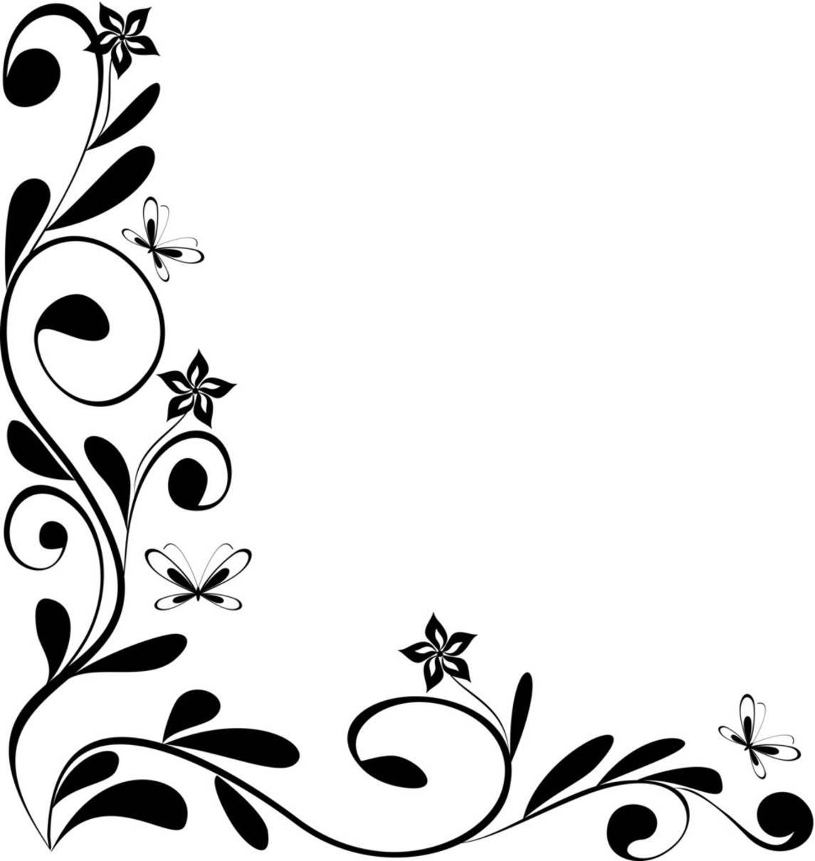 Flower border clip art. Corner clipart