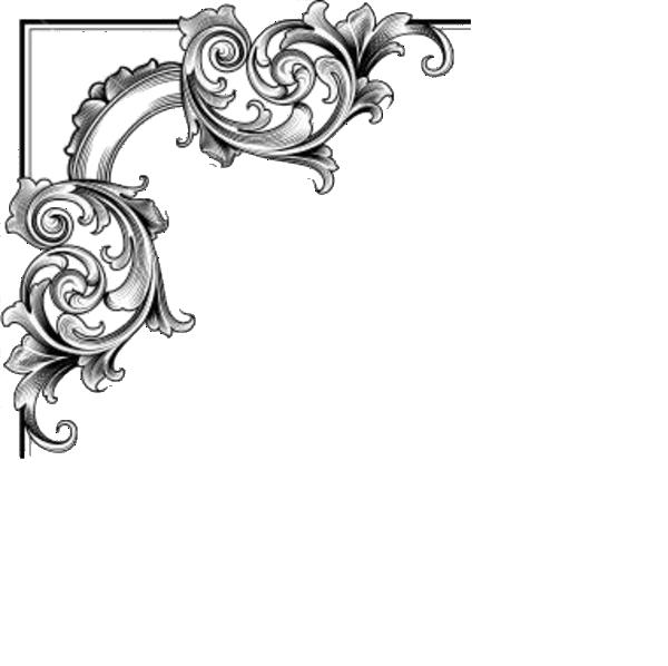 Corner frame png. Baroque ornament picture frames