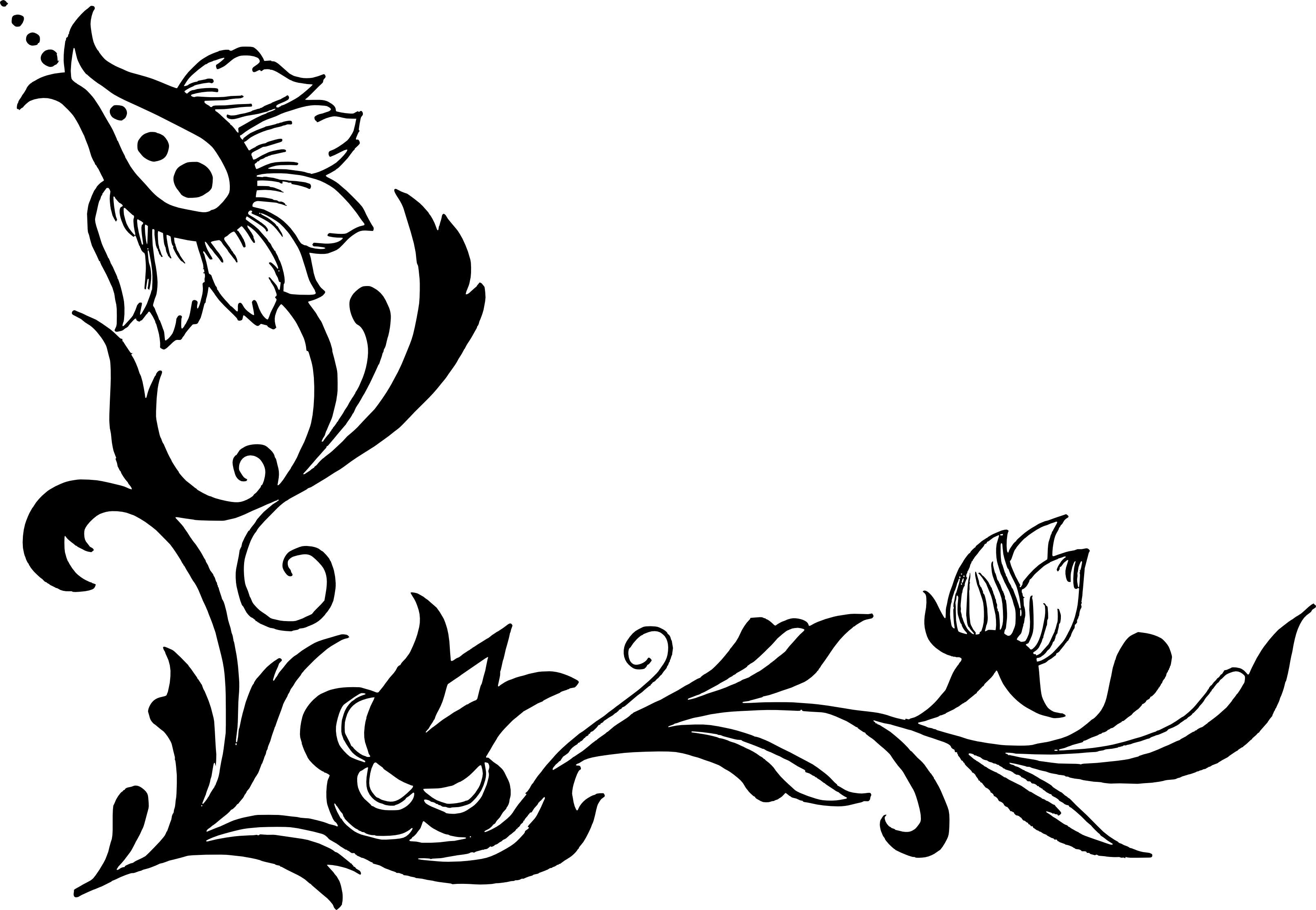 Black flower png.  corner vector transparent