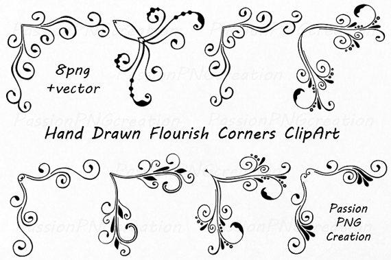 Flourish clipart embellishment. Hand drawn corners swirls