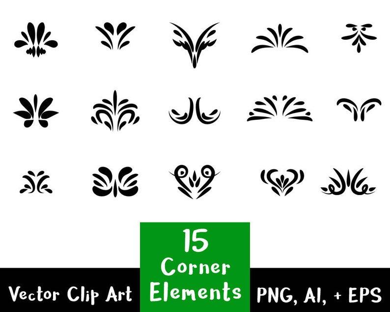Corner elements text divider. Flourish clipart decorative