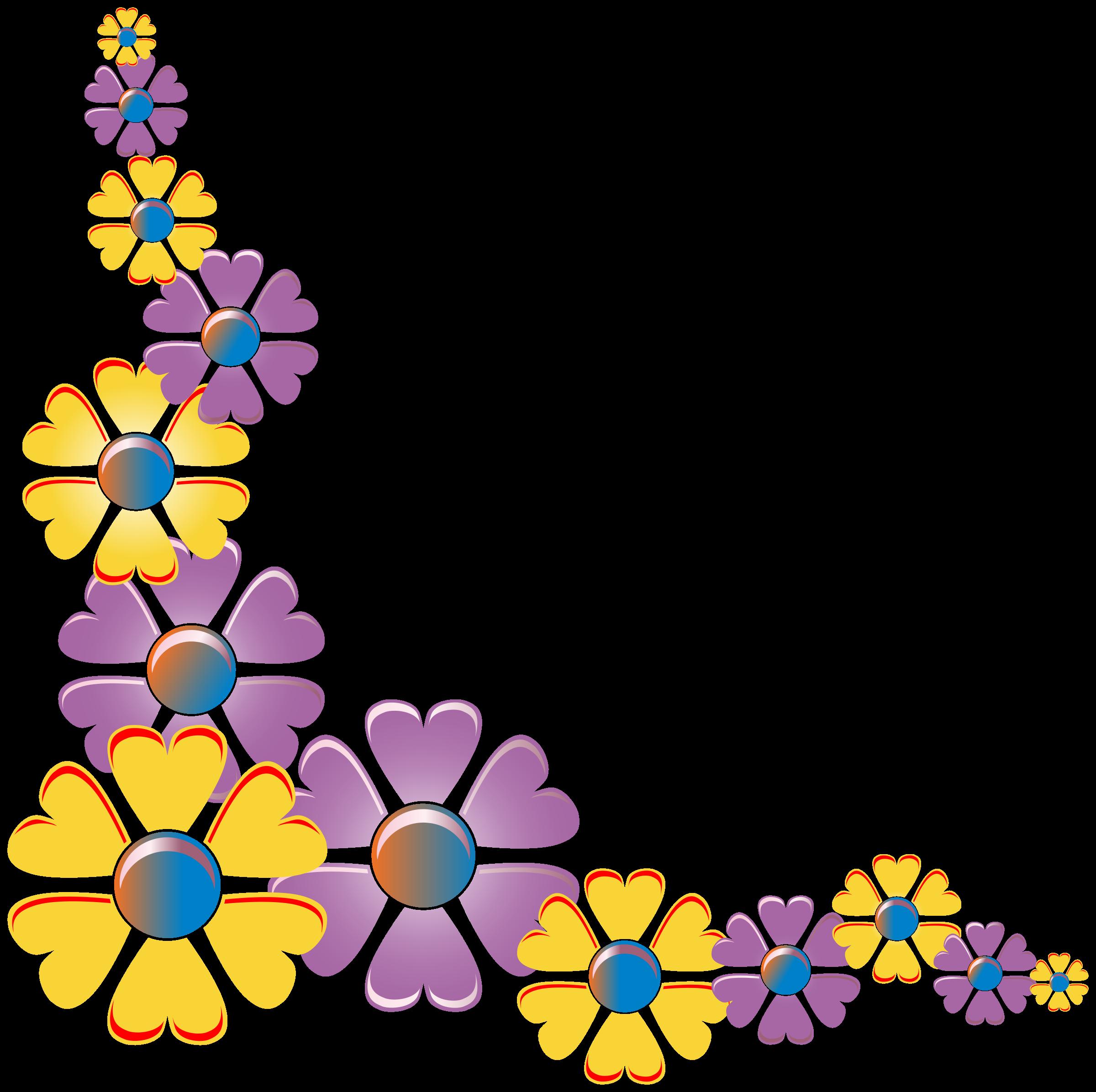 Purple clipart corner. Flower variation big image