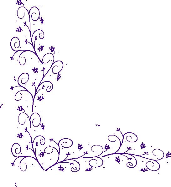 Purple clipart corner. Floral embellishment clip art