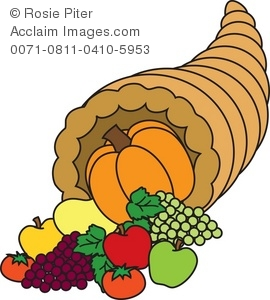 Cornucopia clipart. Royalty free illustration of