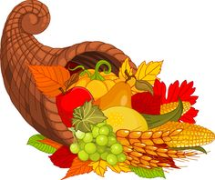 Happy thanksgiving . Cornucopia clipart