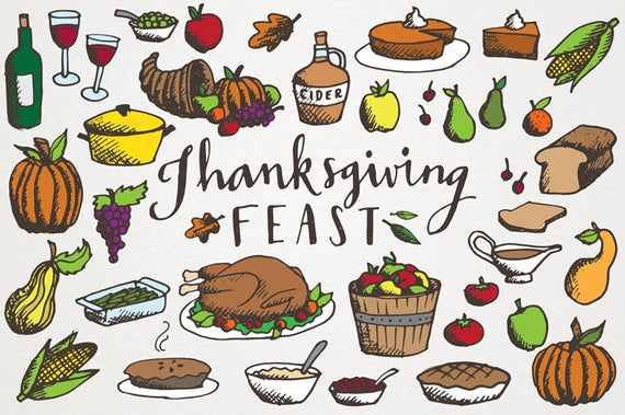 Thanksgiving hand drawn illustrations. Feast clipart vintage dinner