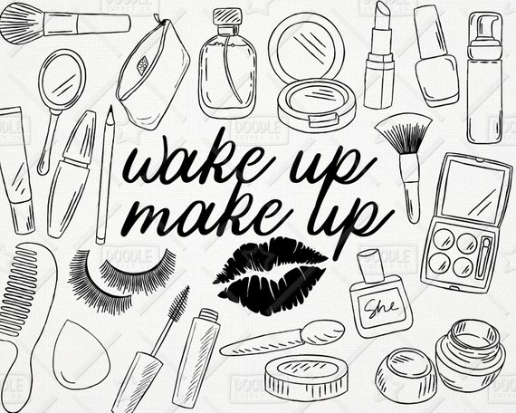 Doodle vector pack cosmetics. Makeup clipart line drawing