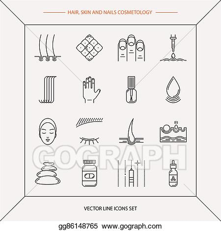 Vector art set of. Cosmetology clipart drawing