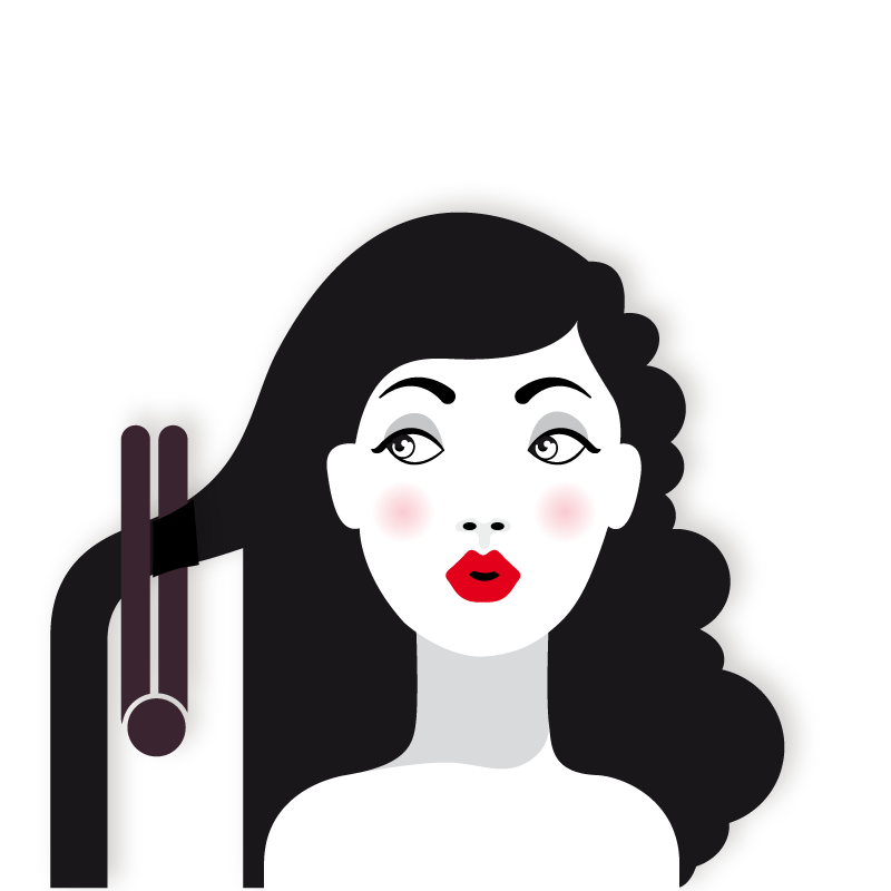 Cosmetology clipart hair roller. Iron straightening hairstyle beauty