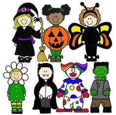 Kids in halloween costumes. Costume clipart