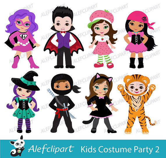 Costume clipart. Kids party digital cute