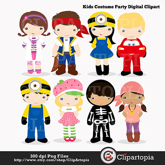 Kids party digital cute. Costume clipart