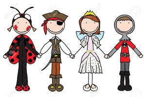 Children in halloween costumes. Costume clipart children's