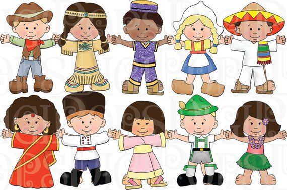 Children of the world. Costume clipart dressed up