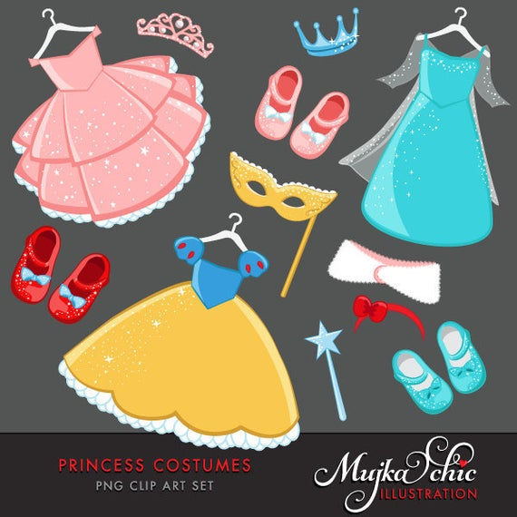 Costume clipart dressed up. Princess costumes with cute