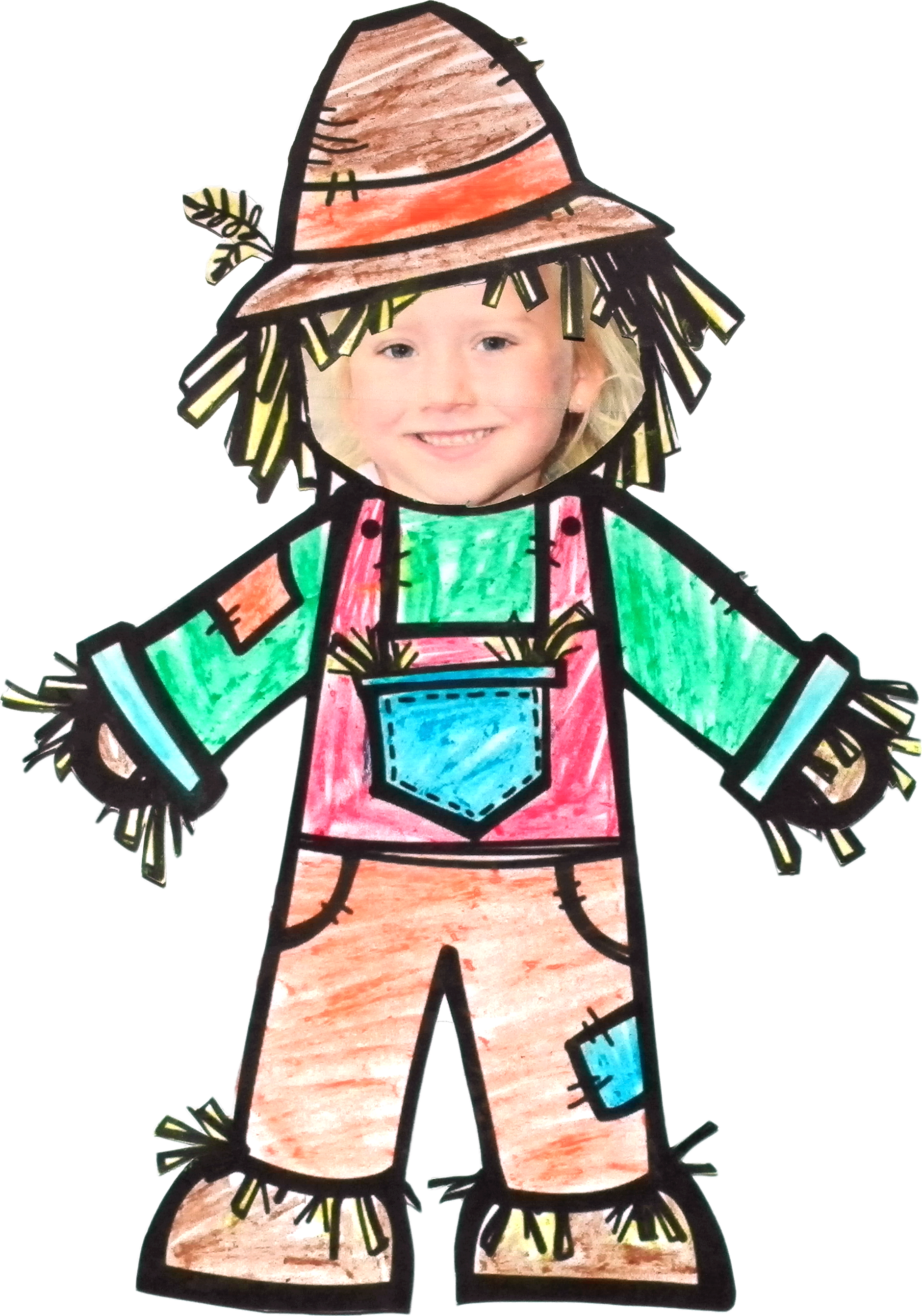 Child template has been. Scarecrow clipart fun