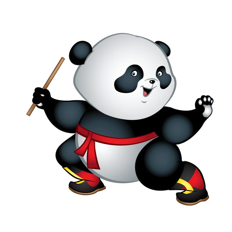 Kungfu panda wheelchair child. Costume clipart figure