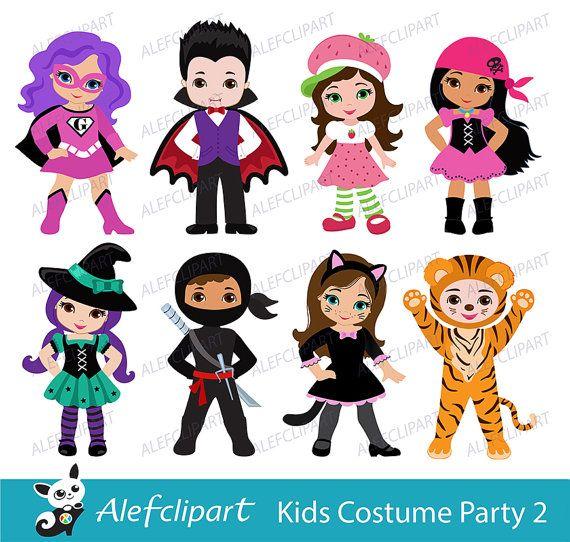 Kids party digital cute. Costume clipart haloween