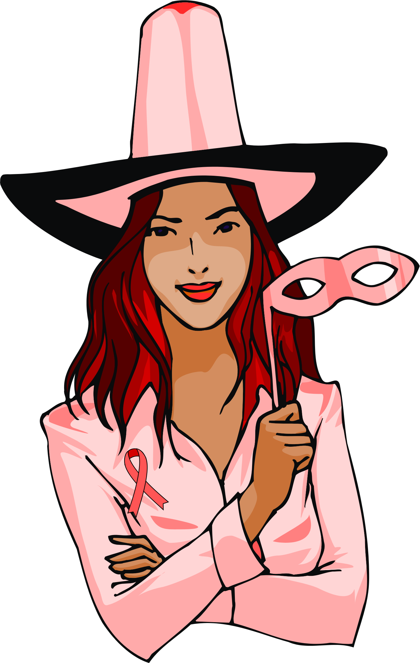 Witch clipart pink. October ribbon big image
