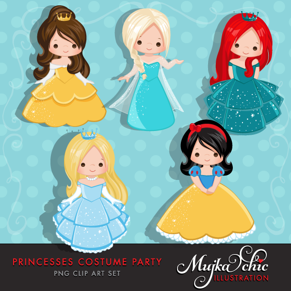 Princess party . Costume clipart printable