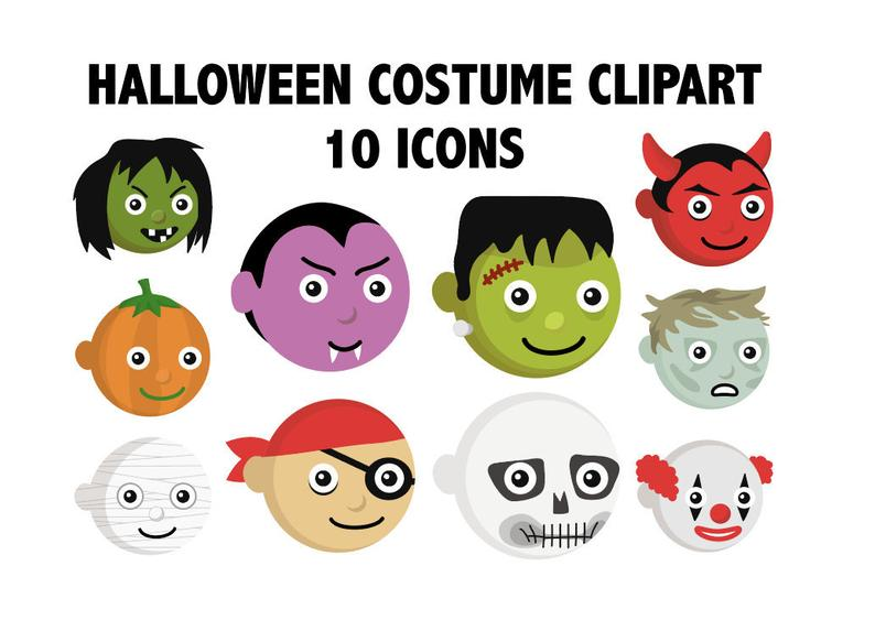 Halloween kids emoji characters. Costume clipart printable
